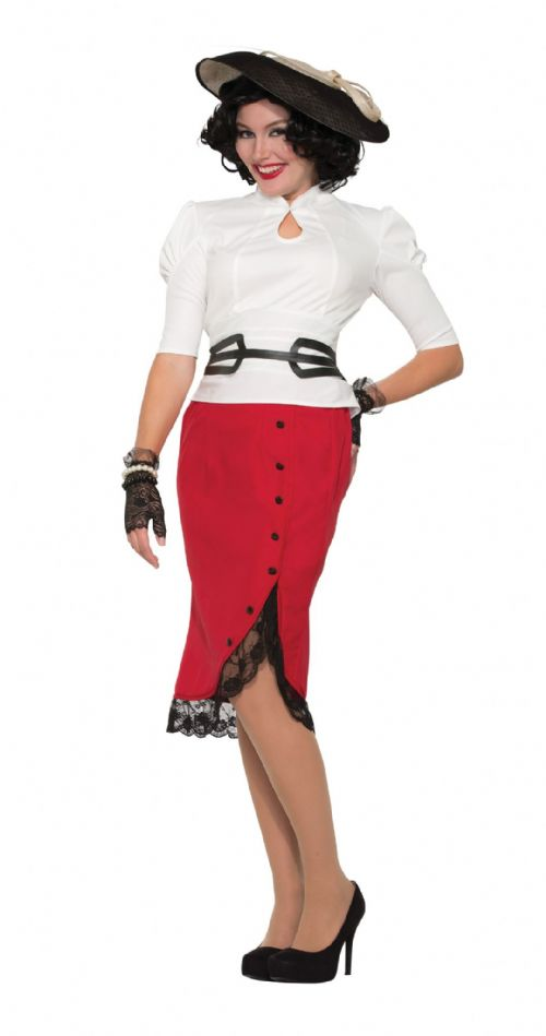 Ladies 1940's Pencil Skirt Red 40s WWII Fourties Fancy Dress